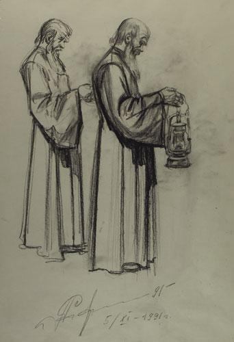 Сбор материала к картине «Крещение».