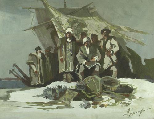 Эскиз к картине «Ермак» из серии «На новые земли».
