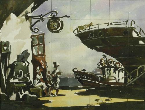 Эскиз к картине «Обеденный перерыв» из серии «Южно-Сахалинск.