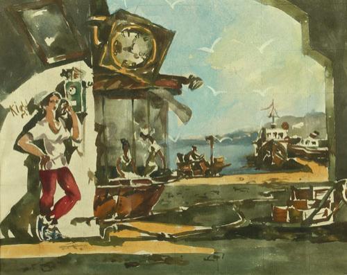 Эскиз к картине «Обеденный перерыв». Долинский целюлозно-бумажный комбинат.
