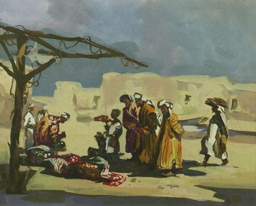 Эскиз к картине «Южный рынок» из серии «Бухара».
